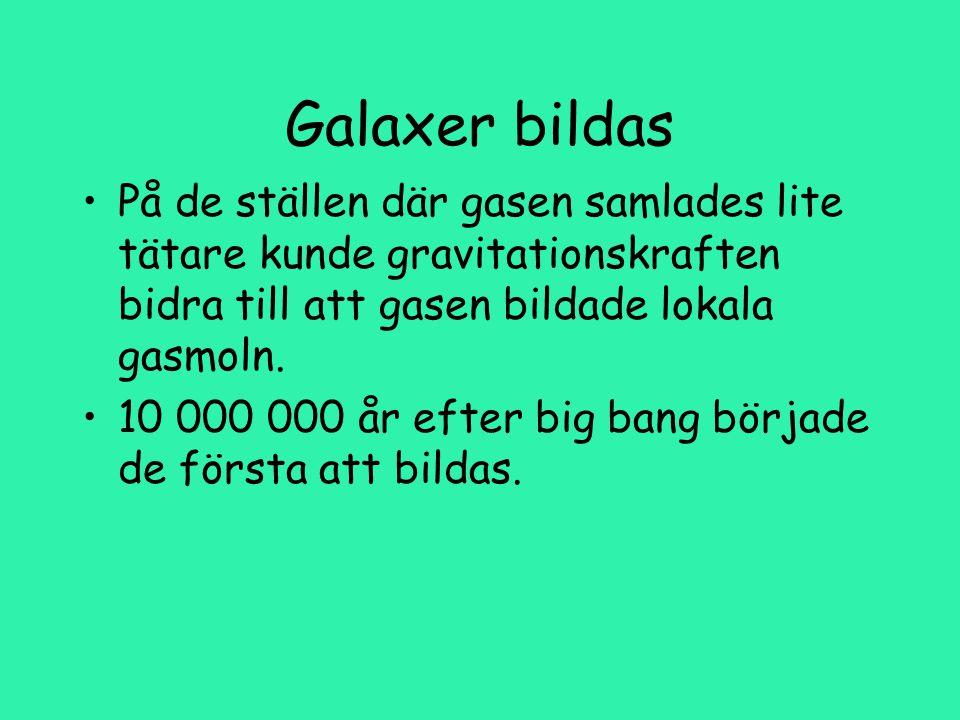 Galaxer bildas På de ställen där gasen samlades lite tätare kunde gravitationskraften bidra till att gasen bildade lokala gasmoln.