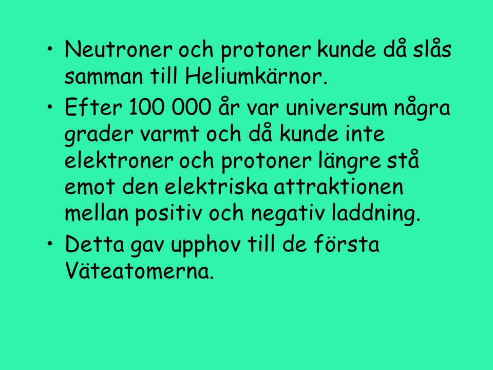 Neutroner och protoner kunde då slås samman till Heliumkärnor.