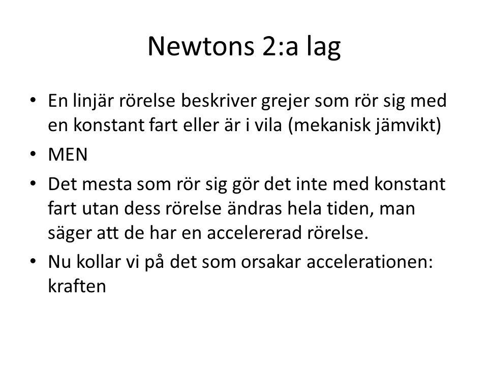Newtons 2:a lag En linjär rörelse beskriver grejer som rör sig med en konstant fart eller är i vila (mekanisk jämvikt) MEN Det mesta som rör sig gör d