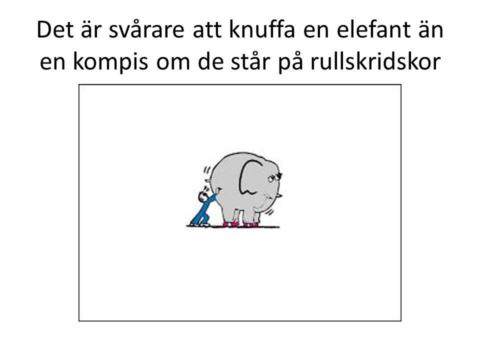 Det är svårare att knuffa en elefant än en kompis om de står på rullskridskor