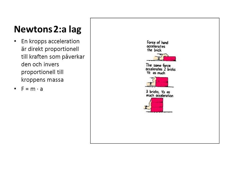 Newtons 2:a lag En kropps acceleration är direkt proportionell till kraften som påverkar den och invers proportionell till kroppens massa F = m ∙ a