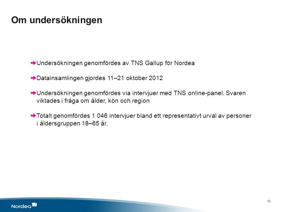 Om undersökningen 10 Undersökningen genomfördes av TNS Gallup för Nordea Datainsamlingen gjordes 11–21 oktober 2012 Undersökningen genomfördes via intervjuer med TNS online-panel.