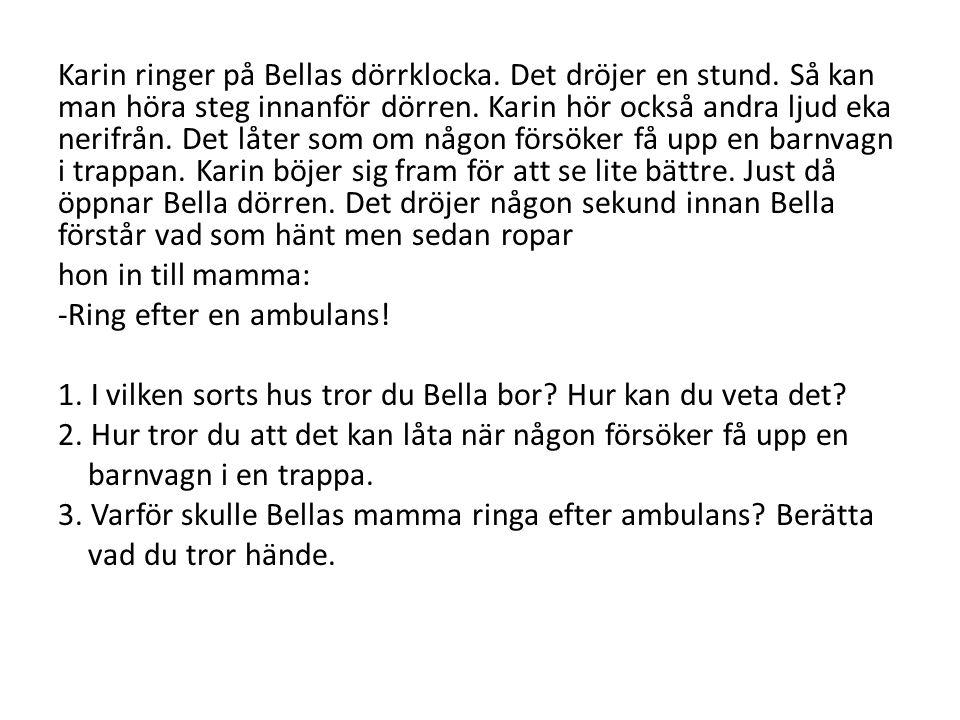 Karin ringer på Bellas dörrklocka. Det dröjer en stund. Så kan man höra steg innanför dörren. Karin hör också andra ljud eka nerifrån. Det låter som o