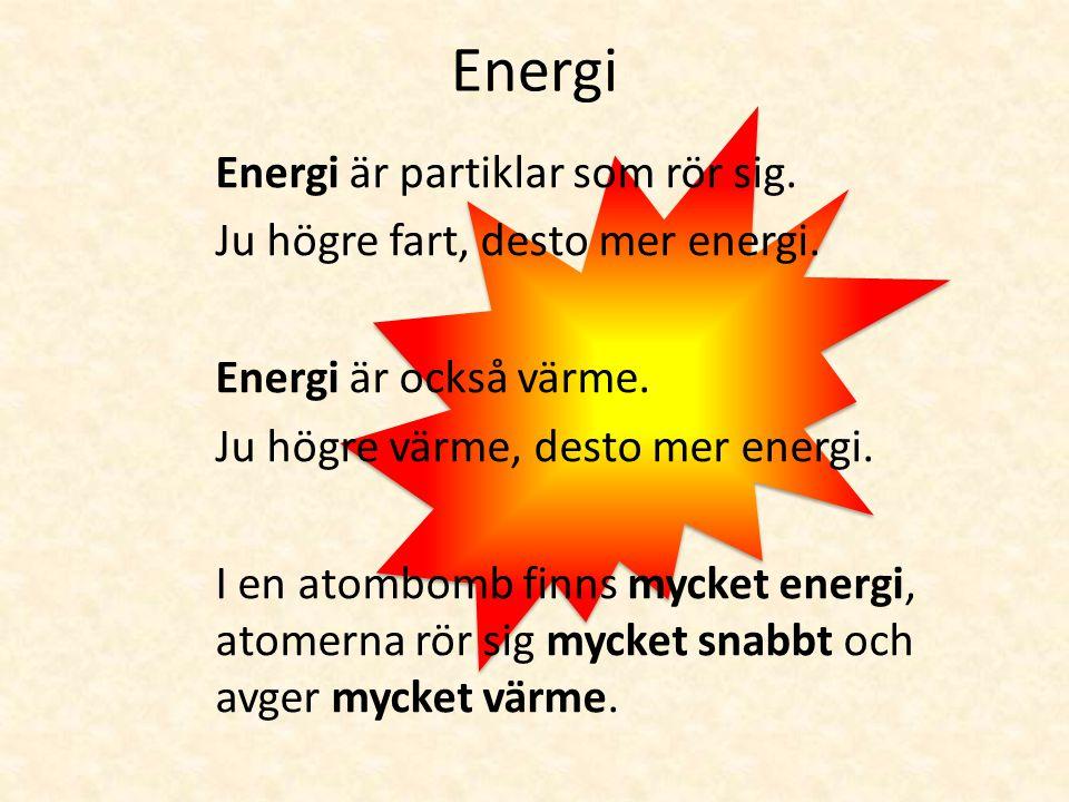 Energi Lite energi Mycket energi När partiklarna rör sig bildas värme.