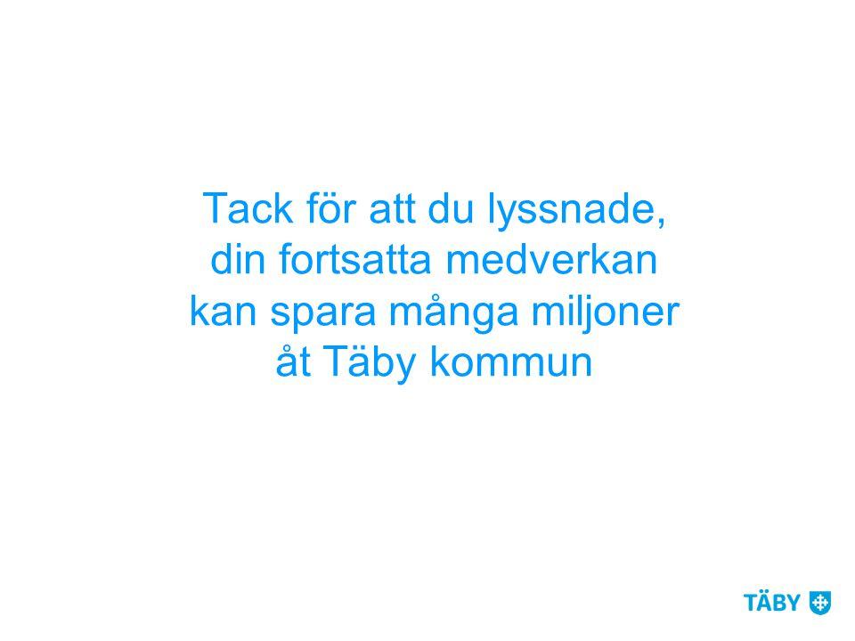 Tack för att du lyssnade, din fortsatta medverkan kan spara många miljoner åt Täby kommun