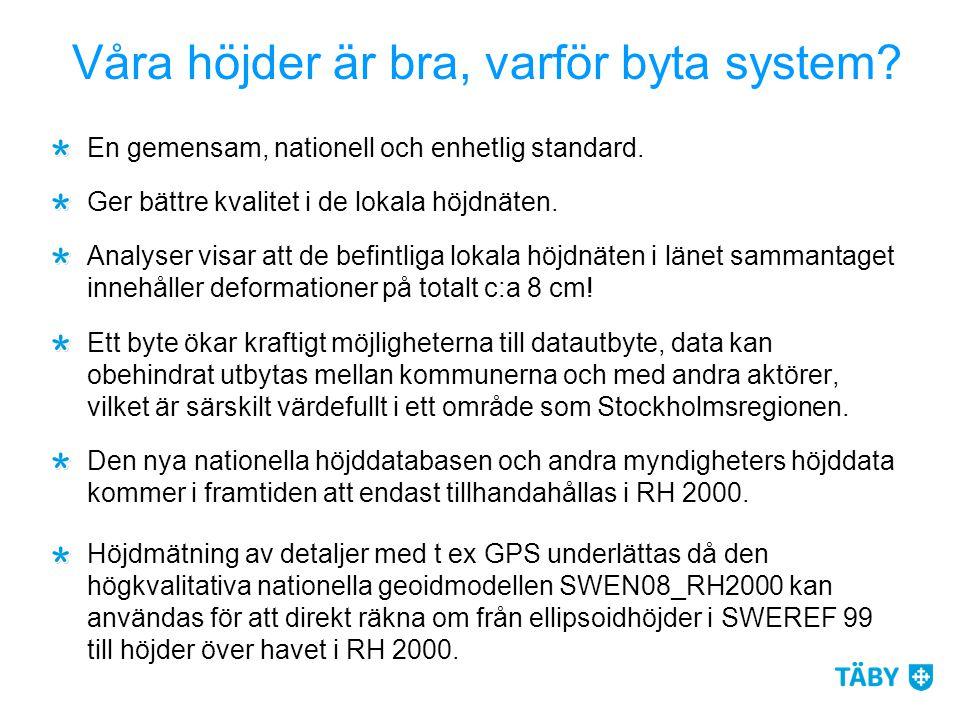 Våra höjder är bra, varför byta system? En gemensam, nationell och enhetlig standard. Ger bättre kvalitet i de lokala höjdnäten. Analyser visar att de