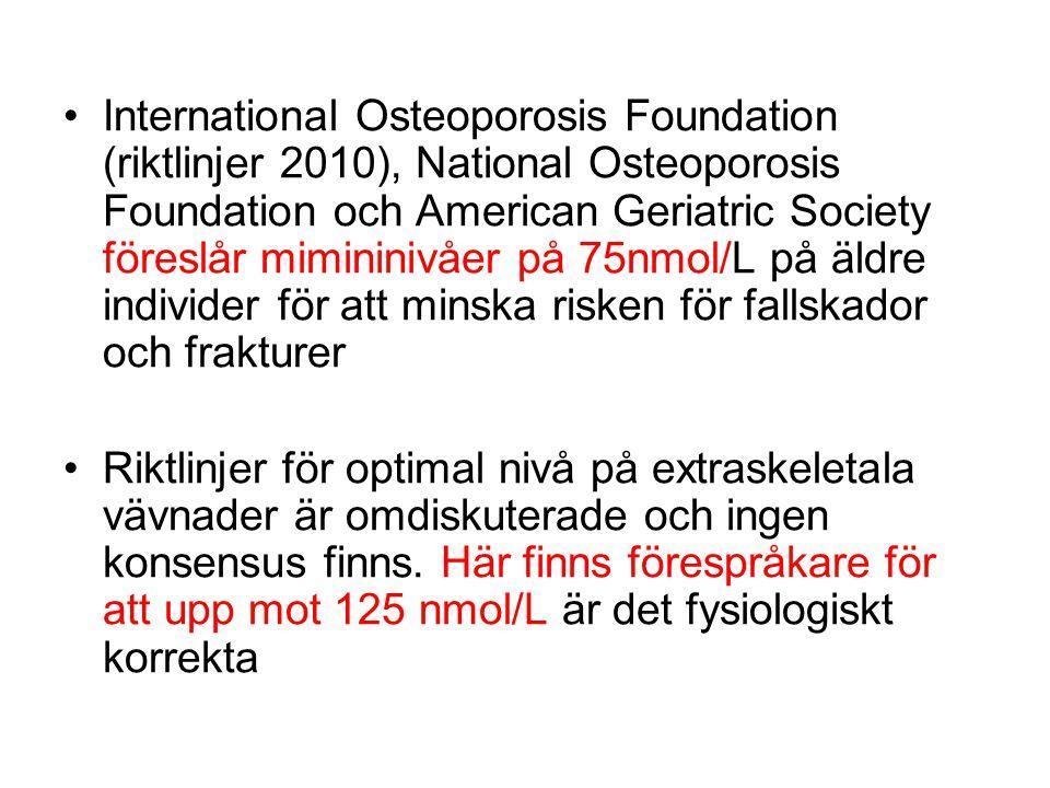 International Osteoporosis Foundation (riktlinjer 2010), National Osteoporosis Foundation och American Geriatric Society föreslår mimininivåer på 75nm
