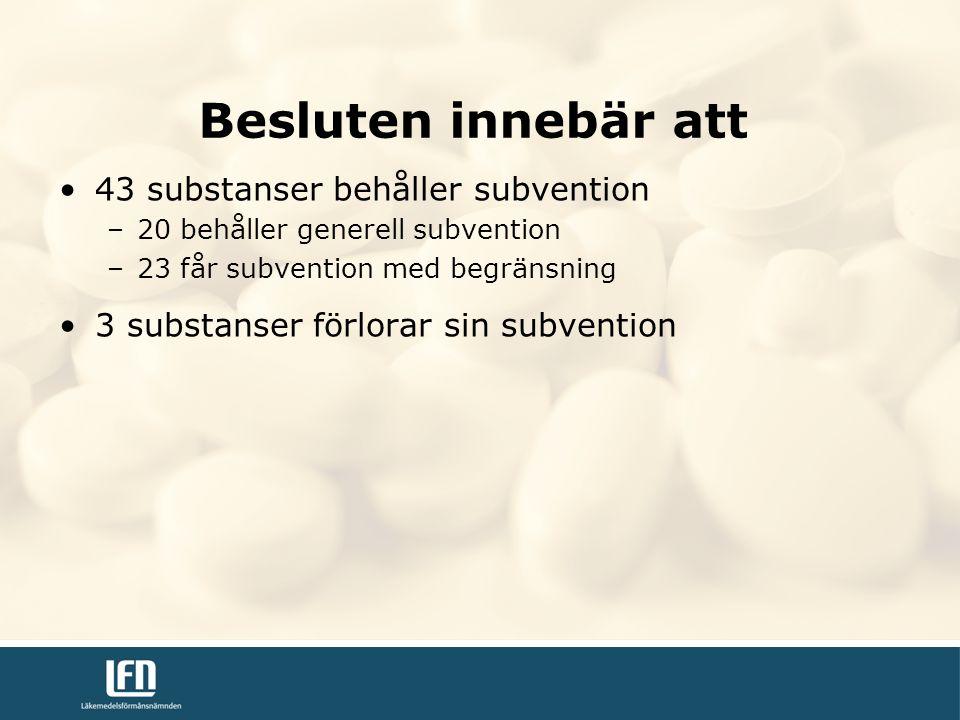 43 substanser behåller subvention –20 behåller generell subvention –23 får subvention med begränsning 3 substanser förlorar sin subvention Besluten innebär att