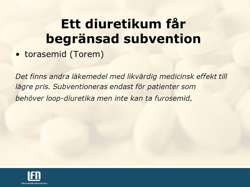 torasemid (Torem) Det finns andra läkemedel med likvärdig medicinsk effekt till lägre pris.