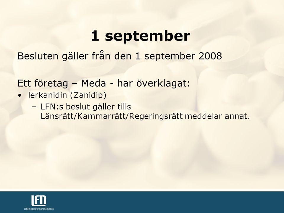 Besluten gäller från den 1 september 2008 Ett företag – Meda - har överklagat: lerkanidin (Zanidip) –LFN:s beslut gäller tills Länsrätt/Kammarrätt/Regeringsrätt meddelar annat.