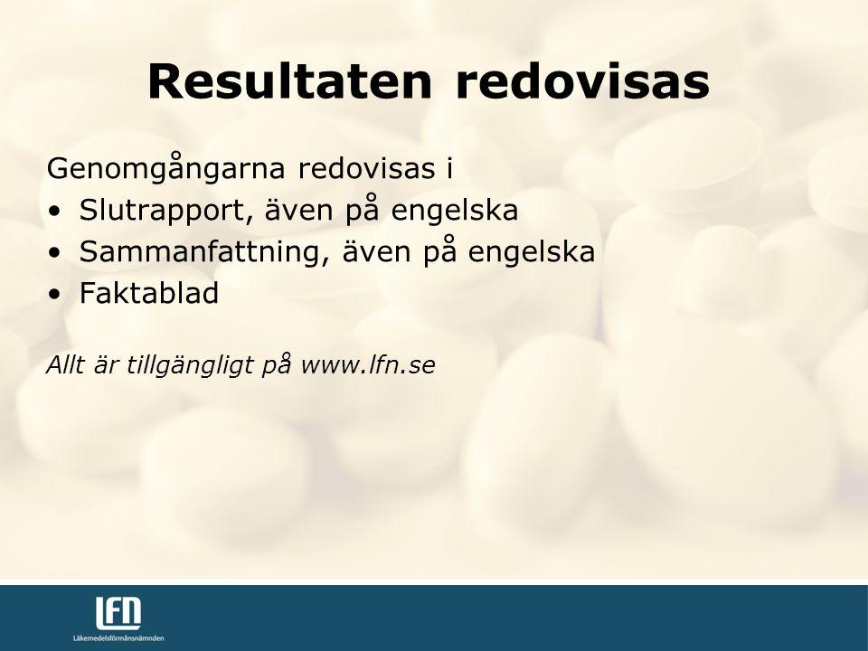 Genomgångarna redovisas i Slutrapport, även på engelska Sammanfattning, även på engelska Faktablad Allt är tillgängligt på www.lfn.se Resultaten redovisas