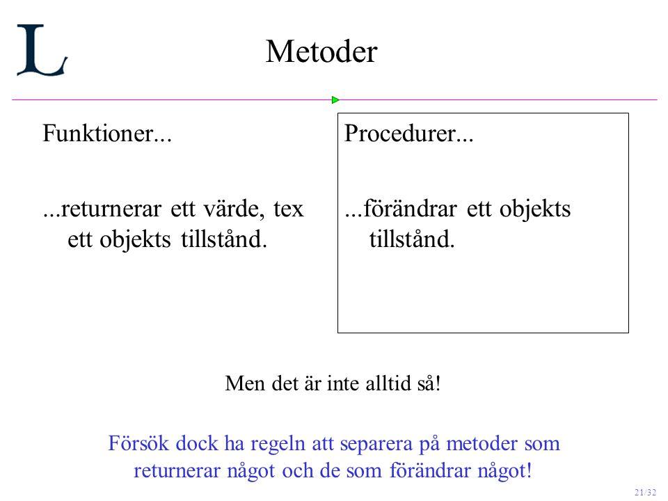 21/32 Metoder Funktioner......returnerar ett värde, tex ett objekts tillstånd.