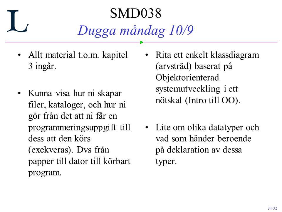 34/32 SMD038 Dugga måndag 10/9 Allt material t.o.m.