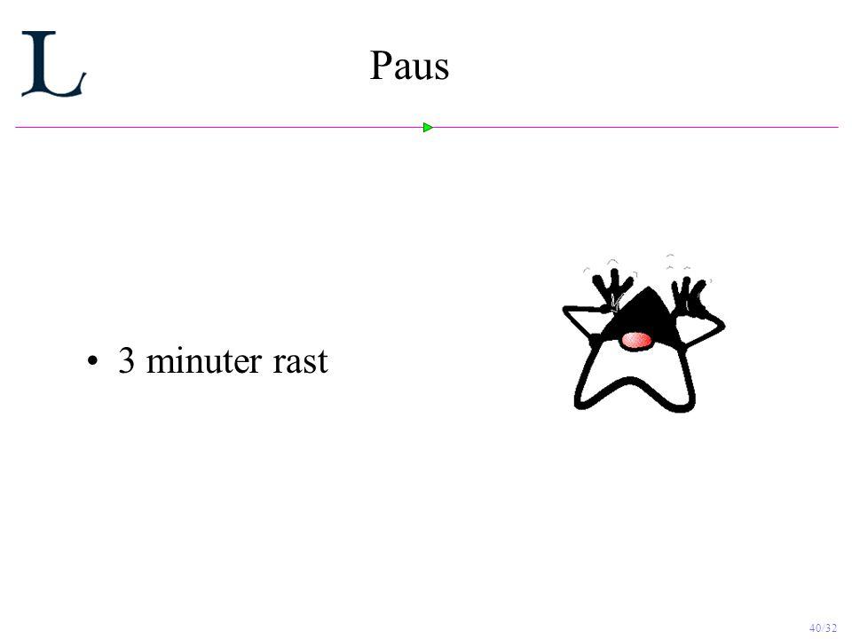 40/32 Paus 3 minuter rast