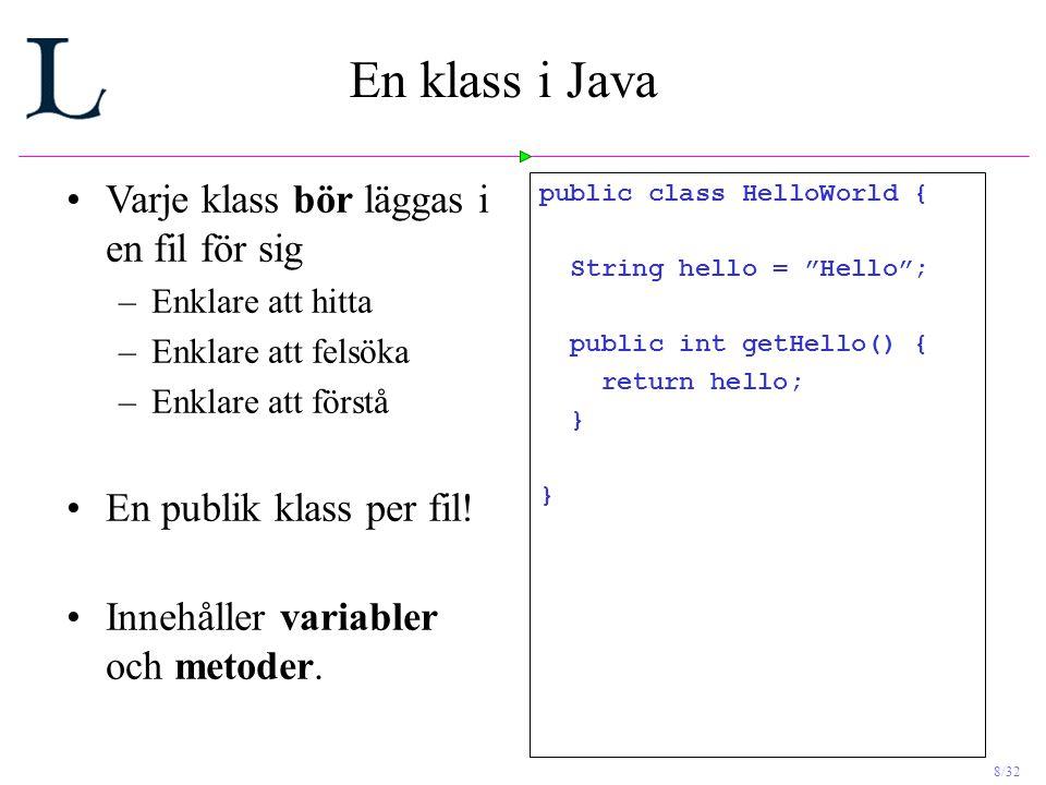 8/32 En klass i Java Varje klass bör läggas i en fil för sig –Enklare att hitta –Enklare att felsöka –Enklare att förstå En publik klass per fil.