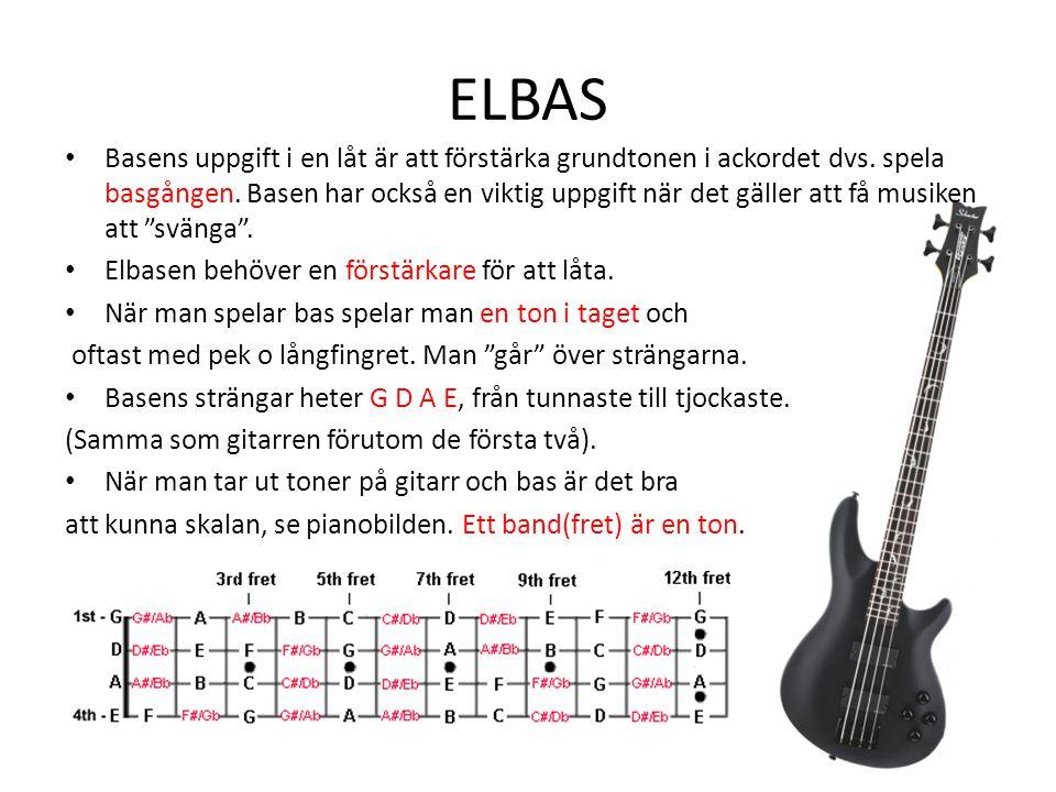 ELBAS Basens uppgift i en låt är att förstärka grundtonen i ackordet dvs. spela basgången. Basen har också en viktig uppgift när det gäller att få mus