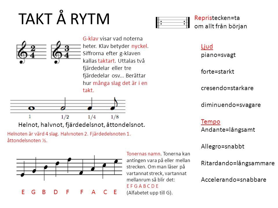 TAKT Å RYTM Ljud piano=svagt forte=starkt cresendo=starkare diminuendo=svagare Tempo Andante=långsamt Allegro=snabbt Ritardando=långsammare Accelerand