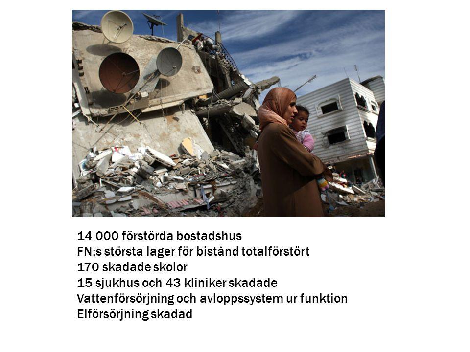 14 000 förstörda bostadshus FN:s största lager för bistånd totalförstört 170 skadade skolor 15 sjukhus och 43 kliniker skadade Vattenförsörjning och a