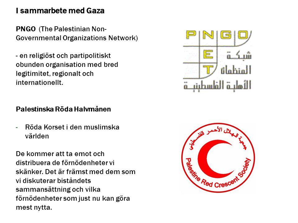 I sammarbete med Gaza PNGO (The Palestinian Non- Governmental Organizations Network) - en religiöst och partipolitiskt obunden organisation med bred l