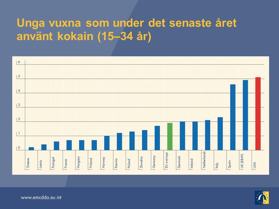 Unga vuxna som under det senaste året använt kokain (15–34 år)