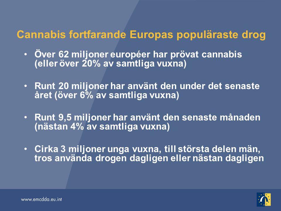Cannabis fortfarande Europas populäraste drog Över 62 miljoner européer har prövat cannabis (eller över 20% av samtliga vuxna) Runt 20 miljoner har an