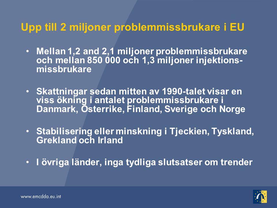 Upp till 2 miljoner problemmissbrukare i EU Mellan 1,2 and 2,1 miljoner problemmissbrukare och mellan 850 000 och 1,3 miljoner injektions- missbrukare