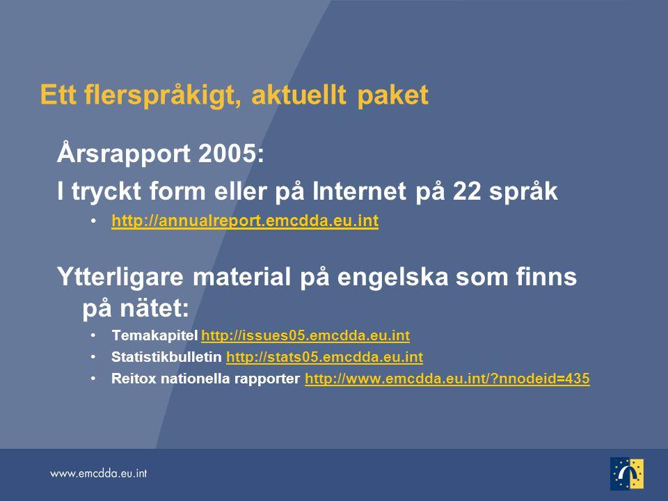 Ett flerspråkigt, aktuellt paket Årsrapport 2005: I tryckt form eller på Internet på 22 språk http://annualreport.emcdda.eu.inthttp://annualreport.emc