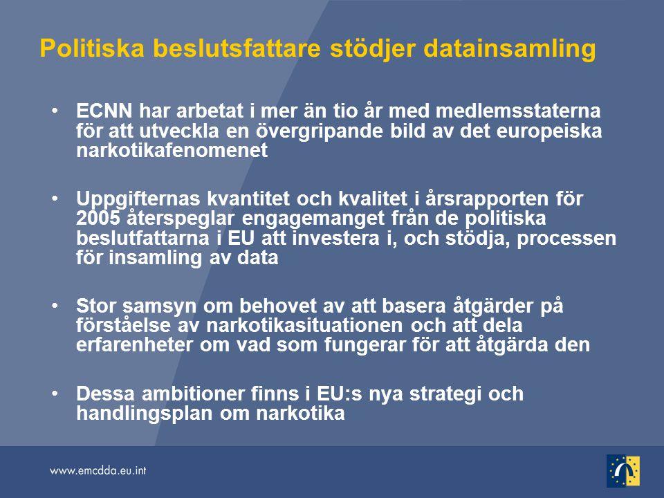 Politiska beslutsfattare stödjer datainsamling ECNN har arbetat i mer än tio år med medlemsstaterna för att utveckla en övergripande bild av det europ