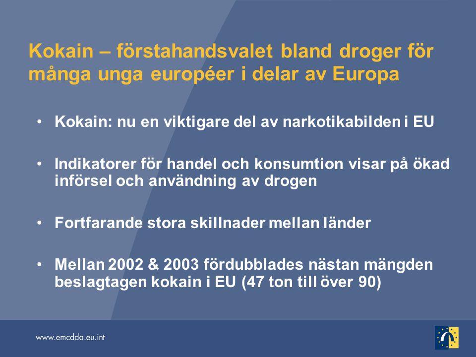 Kokain – förstahandsvalet bland droger för många unga européer i delar av Europa Kokain: nu en viktigare del av narkotikabilden i EU Indikatorer för h