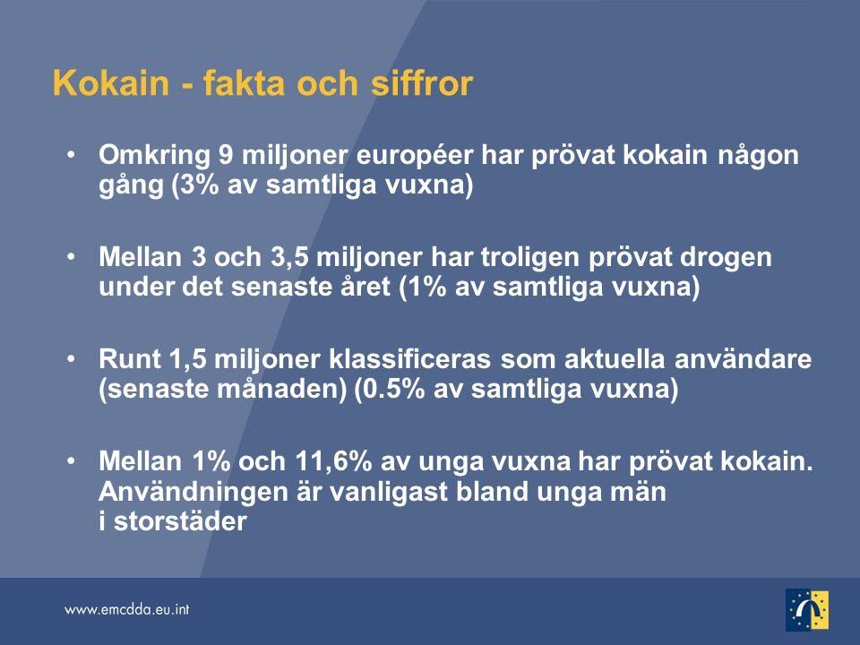 Omkring 9 miljoner européer har prövat kokain någon gång (3% av samtliga vuxna) Mellan 3 och 3,5 miljoner har troligen prövat drogen under det senaste