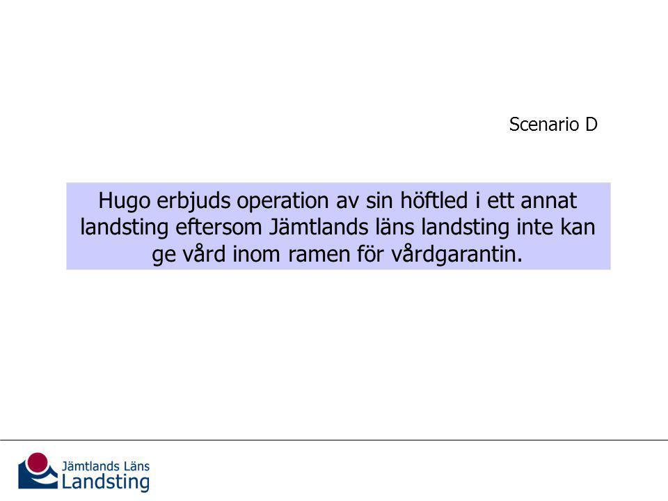 Kännedom om vårdgarantin Hugo erbjuds operation av sin höftled i ett annat landsting eftersom Jämtlands läns landsting inte kan ge vård inom ramen för vårdgarantin.