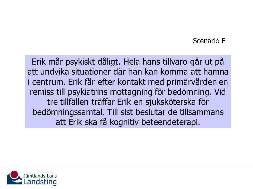 Kännedom om vårdgarantin Erik mår psykiskt dåligt.