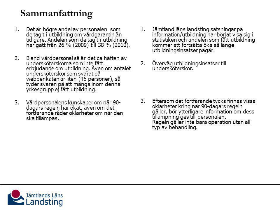 Sammanfattning ) & rekommendationer (höger kolumn) 1.Det är högre andel av personalen som deltagit i utbildning om vårdgarantin än tidigare.