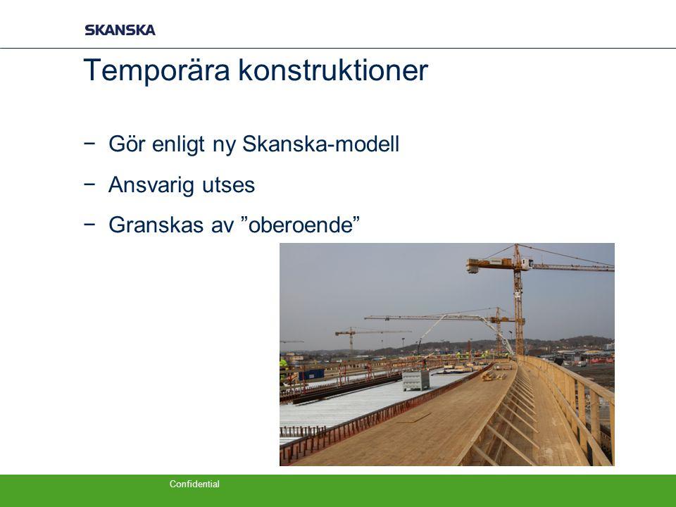 """Confidential Temporära konstruktioner −Gör enligt ny Skanska-modell −Ansvarig utses −Granskas av """"oberoende"""""""