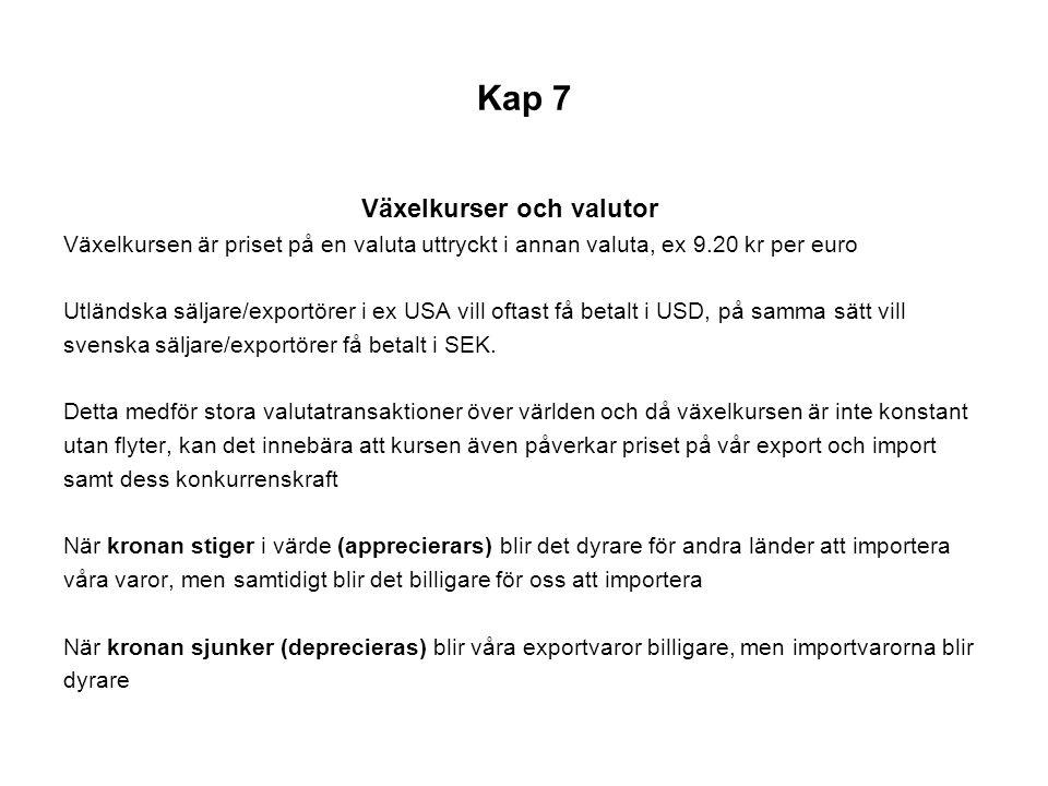 Kap 7 Fast eller rörlig växelkurs.