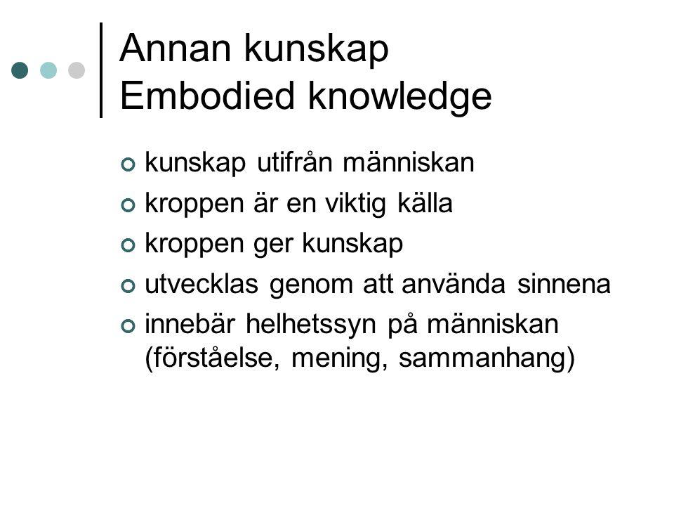 Annan kunskap Embodied knowledge kunskap utifrån människan kroppen är en viktig källa kroppen ger kunskap utvecklas genom att använda sinnena innebär helhetssyn på människan (förståelse, mening, sammanhang)