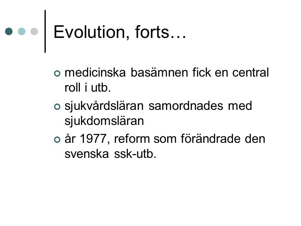Evolution, forts… medicinska basämnen fick en central roll i utb. sjukvårdsläran samordnades med sjukdomsläran år 1977, reform som förändrade den sven