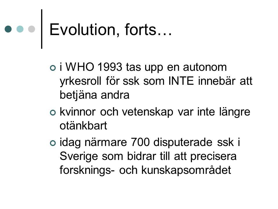 Evolution, forts… i WHO 1993 tas upp en autonom yrkesroll för ssk som INTE innebär att betjäna andra kvinnor och vetenskap var inte längre otänkbart idag närmare 700 disputerade ssk i Sverige som bidrar till att precisera forsknings- och kunskapsområdet