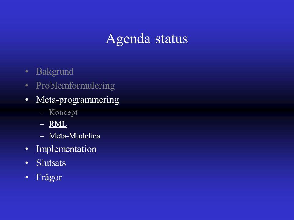 Agenda status Bakgrund Problemformulering Meta-programmering –Koncept –RML –Meta-Modelica Implementation Slutsats Frågor