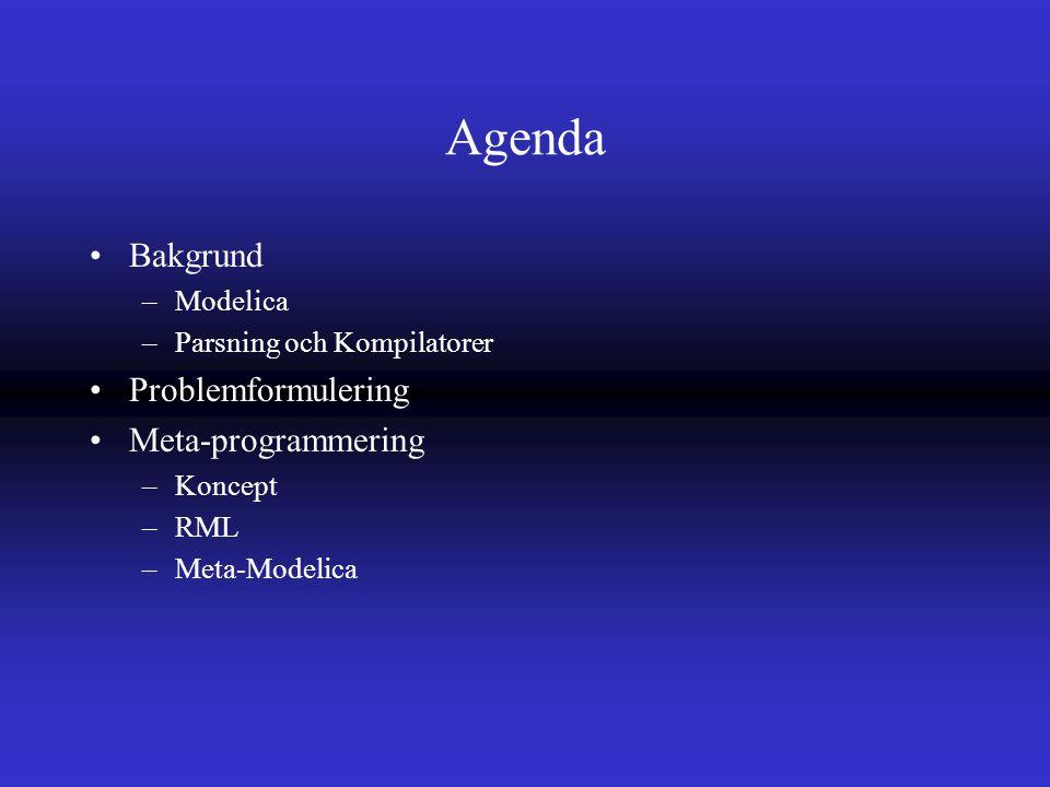 Agenda Bakgrund –Modelica –Parsning och Kompilatorer Problemformulering Meta-programmering –Koncept –RML –Meta-Modelica
