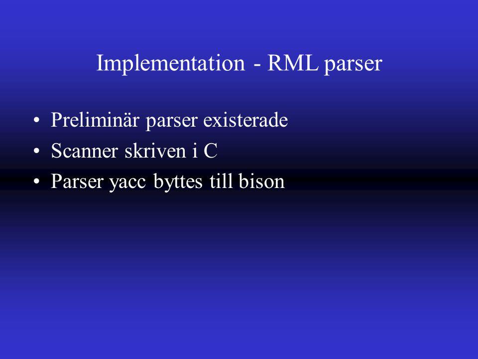 Implementation - RML parser Preliminär parser existerade Scanner skriven i C Parser yacc byttes till bison