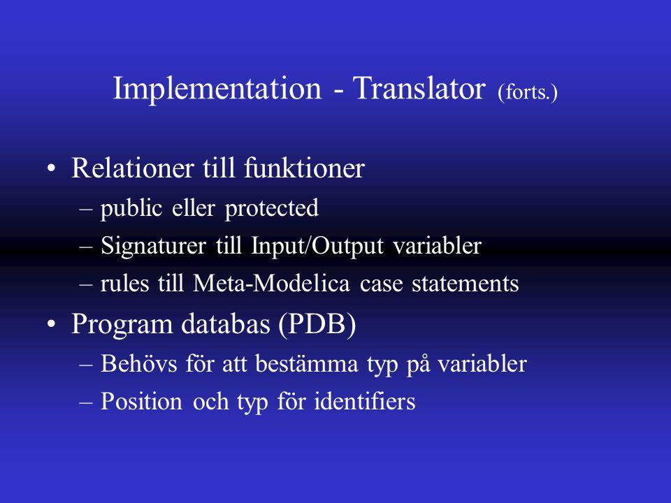 Implementation - Translator (forts.) Relationer till funktioner –public eller protected –Signaturer till Input/Output variabler –rules till Meta-Modelica case statements Program databas (PDB) –Behövs för att bestämma typ på variabler –Position och typ för identifiers