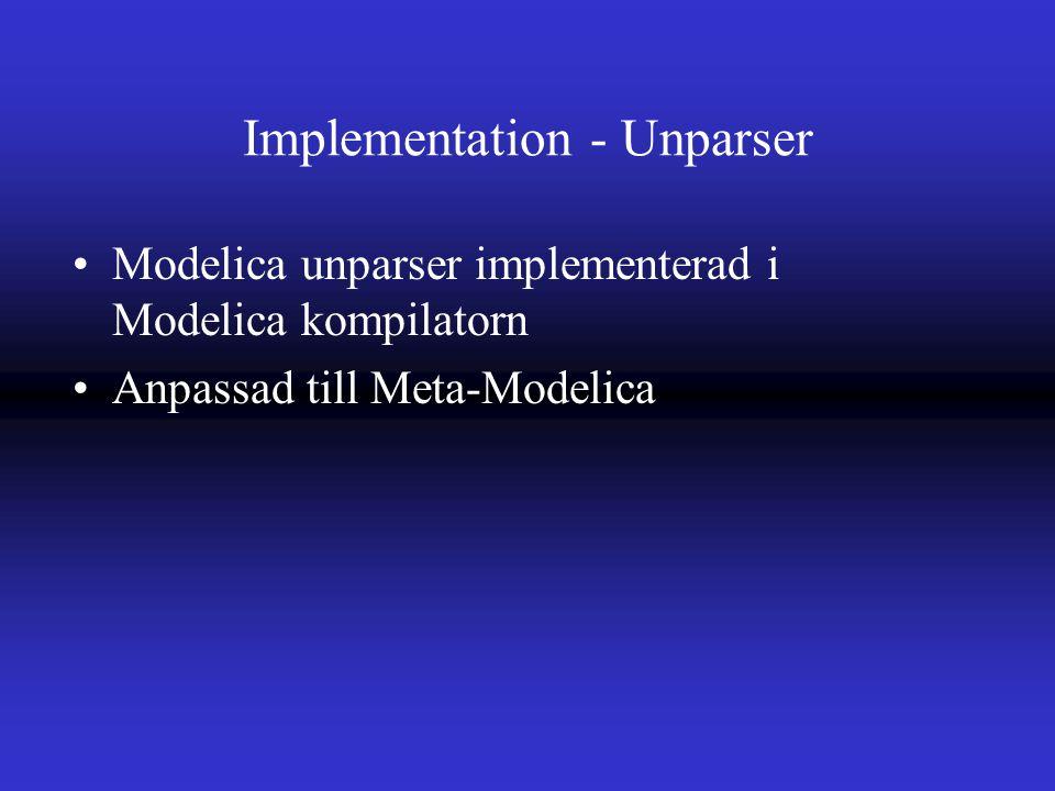 Implementation - Unparser Modelica unparser implementerad i Modelica kompilatorn Anpassad till Meta-Modelica