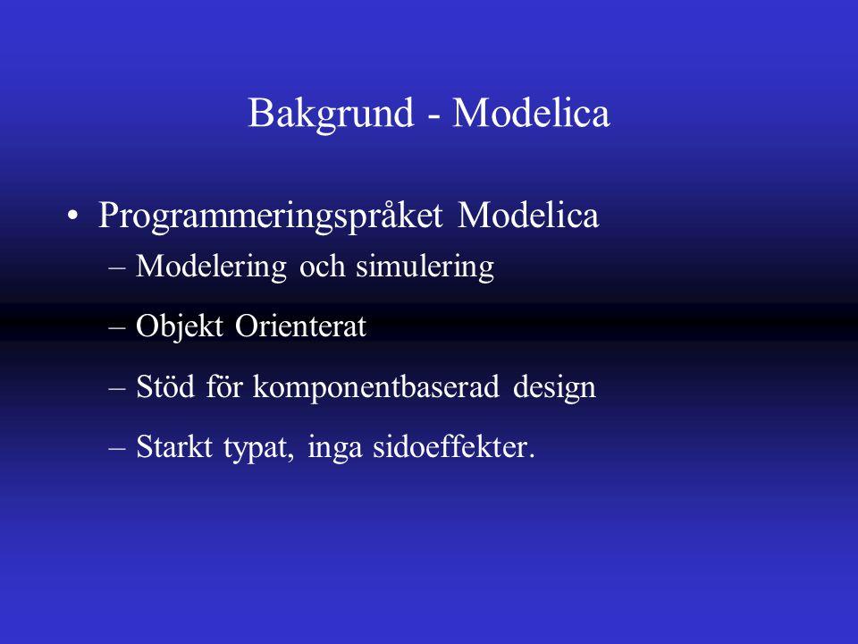 Bakgrund - Modelica Programmeringspråket Modelica –Modelering och simulering –Objekt Orienterat –Stöd för komponentbaserad design –Starkt typat, inga sidoeffekter.