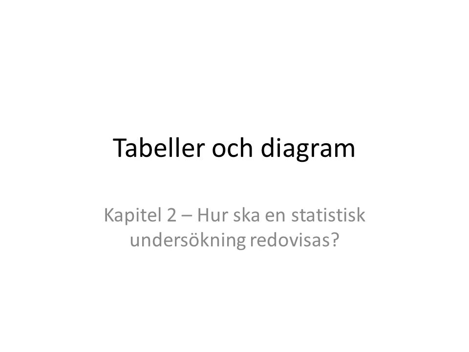 Tabeller och diagram Kapitel 2 – Hur ska en statistisk undersökning redovisas?