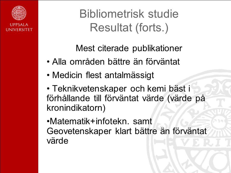 Bibliometrisk studie Resultat (forts.) Mest citerade publikationer Alla områden bättre än förväntat Medicin flest antalmässigt Teknikvetenskaper och k