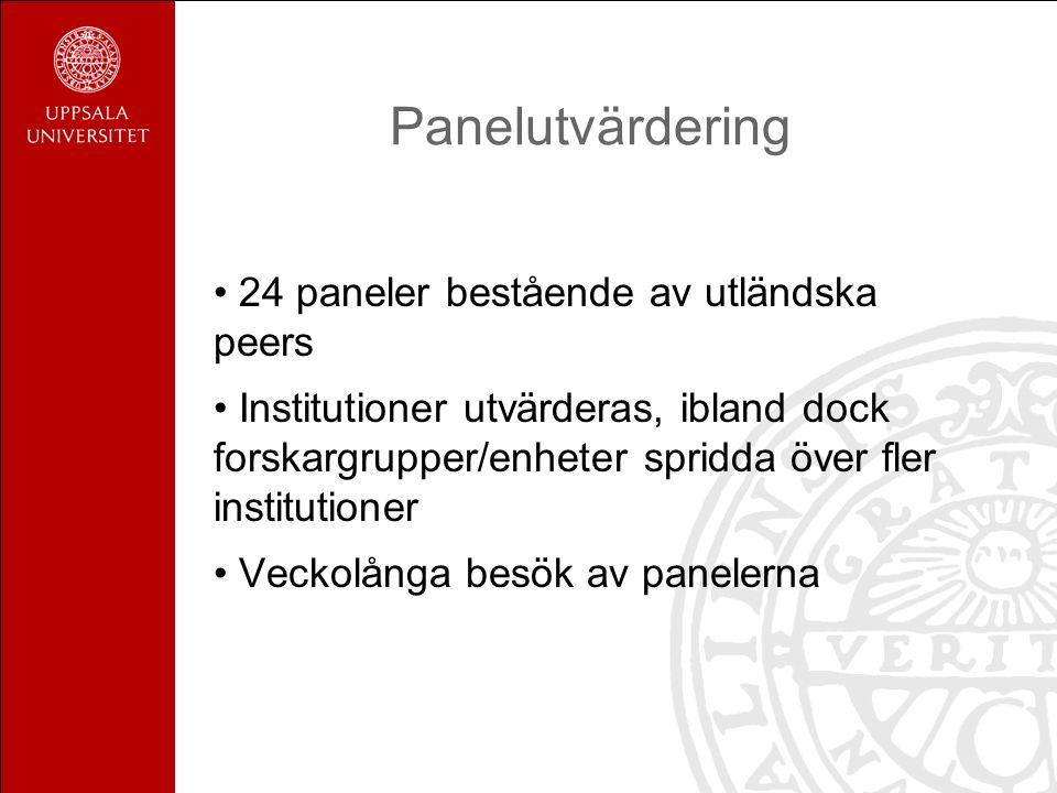 Panelutvärdering 24 paneler bestående av utländska peers Institutioner utvärderas, ibland dock forskargrupper/enheter spridda över fler institutioner