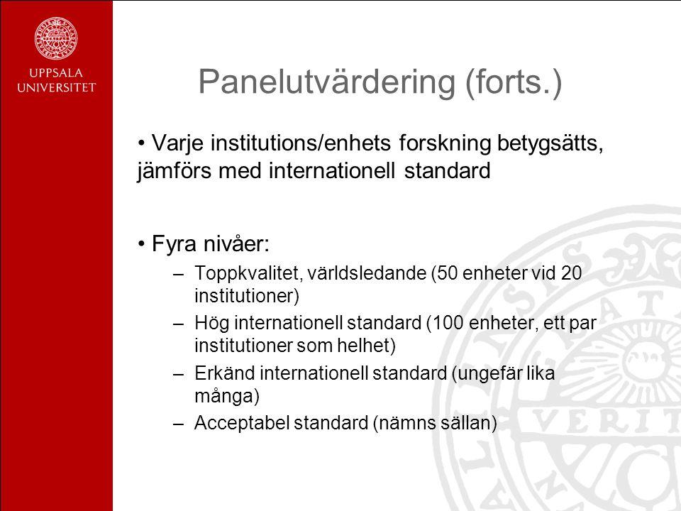 Panelutvärdering (forts.) Varje institutions/enhets forskning betygsätts, jämförs med internationell standard Fyra nivåer: –Toppkvalitet, världsledand
