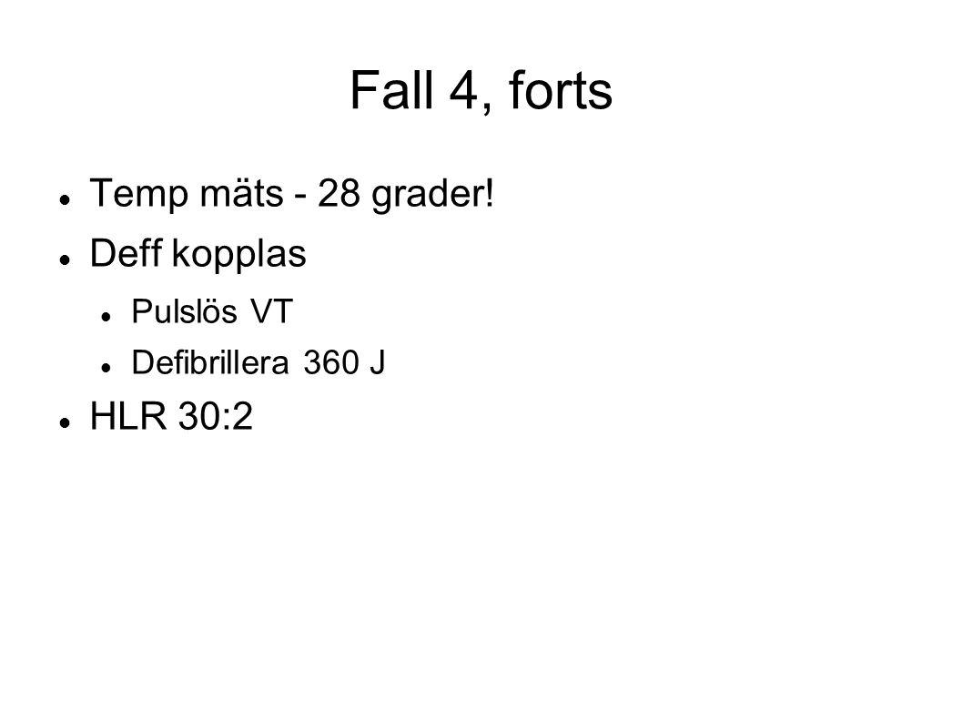Fall 4, forts Temp mäts - 28 grader! Deff kopplas Pulslös VT Defibrillera 360 J HLR 30:2