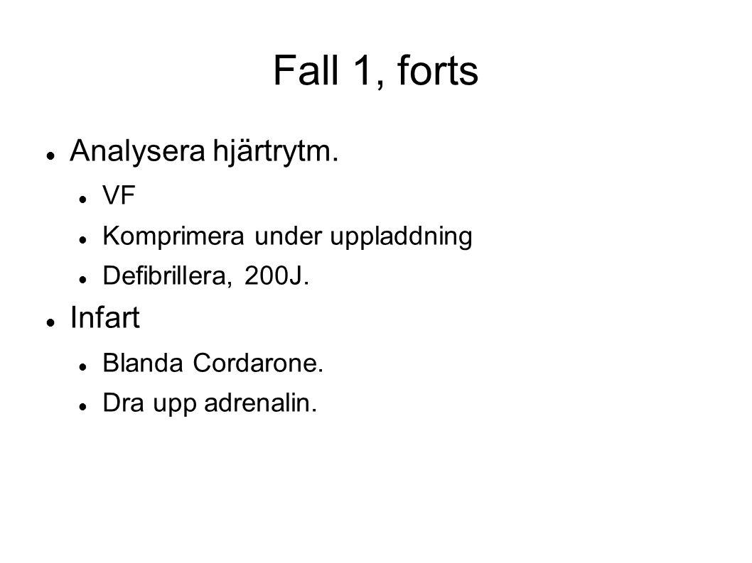 Fall 1, forts Analysera hjärtrytm. VF Komprimera under uppladdning Defibrillera, 200J. Infart Blanda Cordarone. Dra upp adrenalin.
